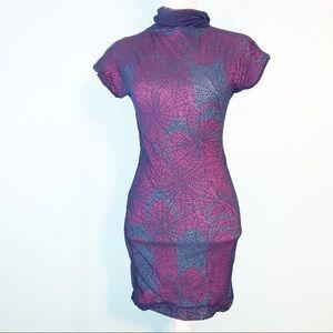 Custo Barcelona Web Lace Turtleneck Bodycon Dress
